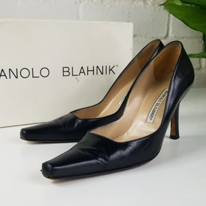 Manolo Blahnik Classic Leather Pumps Squared Toe